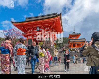 Tourists taking photographs in front of the West Gate at Kiyomizudera (Kiyomizu-dera), a Buddhist Temple in Southern Higashiyama, Kyoto, Japan - Stock Photo