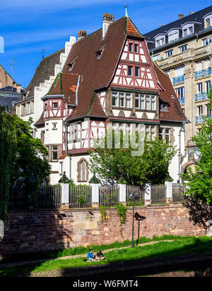 Alfred Marzolff half-timbered house, school director housing, Lycée des Pontonniers, international high school, Strasbourg, Alsace, France, Europe, - Stock Photo