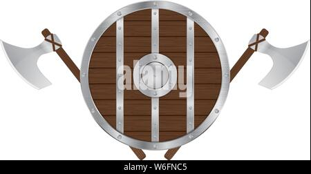 Round wooden shield with axes - Stock Photo