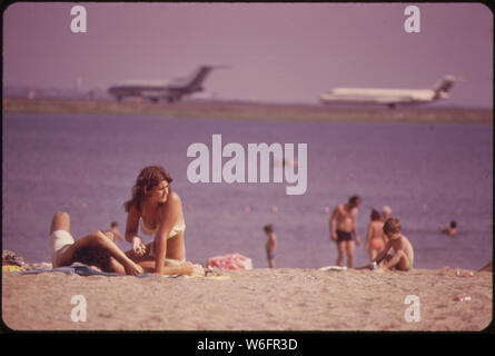 CONSTITUTION BEACH--WITHIN SIGHT AND SOUND OF LOGAN AIRPORT'S TAKEOFF RUNWAY 22R - Stock Photo