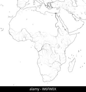 World Map of AFRICA: Egypt, Libya, Ethiopia, Arabia, Mauritania, Nigeria, Somalia, Namibia, Tanzania, Madagascar. XXL-Geochart of Ancient continent. - Stock Photo
