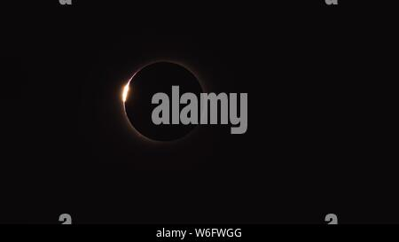 total solar eclipse in Chile on July 2, 2019. Baily's Beads, Solar Fulgurations can be seen - Stock Photo