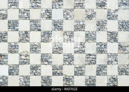 Vintage checkerboard chequered pattern background or texture - Stock Photo