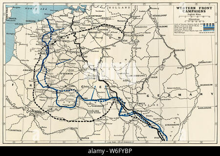 Millitary campaigns on the Western Front, World War I. Printed color map - Stock Photo