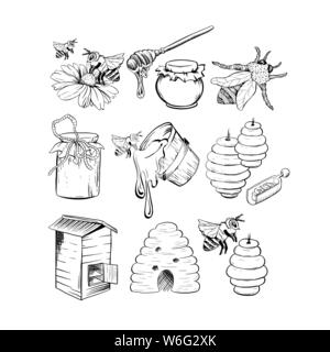 Honey Sketches Set, Bee Hive, Honey Jar, Barrel, Pot, Spoon and Flower Hand Drawn Organic Products for Logo. Black Outline Engraving Elements. Vintage Isolated Vector Illustration - Stock Photo