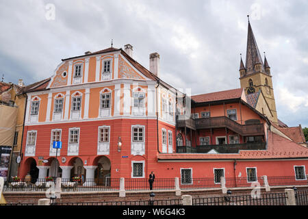 Sibiu, Romania - July 11, 2019: Situated in the very heart of Sibiu, Hotel Casa Luxemburg still preserves unique architectural elements thus reminding - Stock Photo