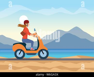Travel Riding in scooter cartoon - Stock Photo