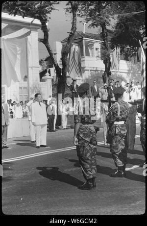 During ceremonies at Saigon, South Vietnam, the Vietnamese Air Force pledged its support for President Ngo Dinh Diem after a political uprising and an attempt on the President's life. - Stock Photo