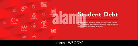 Student Debt and Loan Icon Set and Web Header Banner - Stock Photo