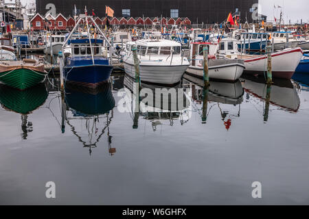 small fishing boats in skagen harbour - Stock Photo