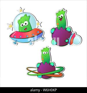 Extraraterrestrial Green Funny cartoon characters with emotions. Aliens on purple planet and spaceship. A set of monsters stickers. Talisman for print - Stock Photo