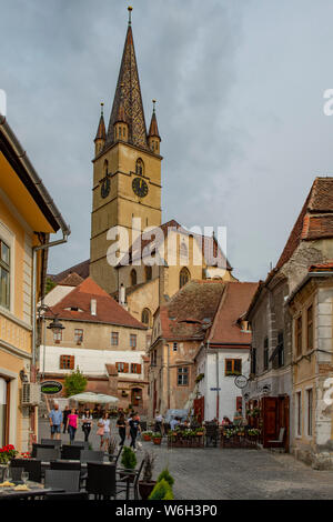 Lutheran Cathedral of St Mary, Old Sibiu, Romania - Stock Photo