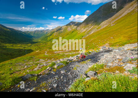 A man riding his mountain bike on the Palmer Valley Road near Hope, Alaska on a sunny summer day in South-central Alaska - Stock Photo
