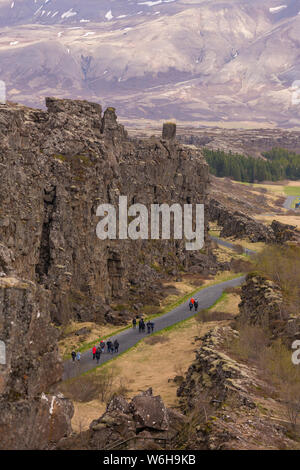 PINGVELLIR NATIONAL PARK, ICELAND - Rock formations at Mid-Atlantic Ridge rift valley, and site of historic national Parliment of Iceland. - Stock Photo