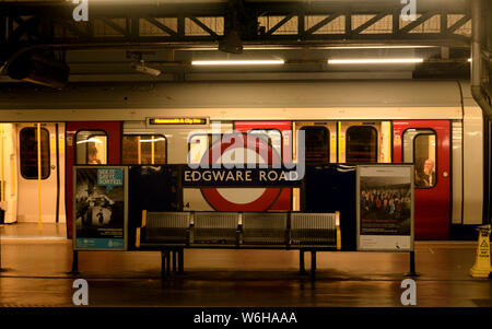 baker street tube station in london with people waiting for the train - Stock Photo