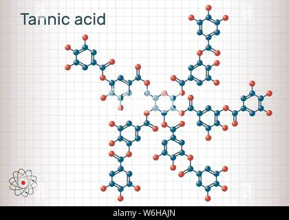 Tannic acid, tannin molecule. It type of polyphenol. Sheet of paper in a cage. Structural chemical formula and molecule model. Vector illustration - Stock Photo