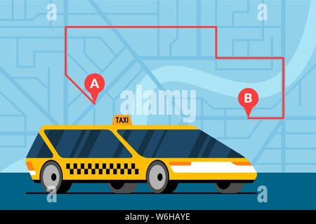 Modern yellow car on city map with route a to b and gps navigation marker pins location icons. Online navigation application order taxicab service. Ge - Stock Photo