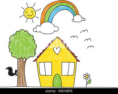 Cute children's drawing style house, tree, flowers rainbow and sun. The coloring is imperfect looking. - Stock Photo
