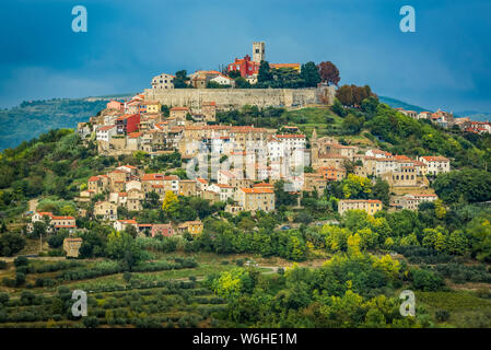 Vineyards surrounding the hilltop medieval town of Motovun; Motovun, Istria, Croatia - Stock Photo