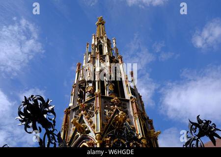 The Beautiful Fountain in Nuremberg, Germany - Stock Photo