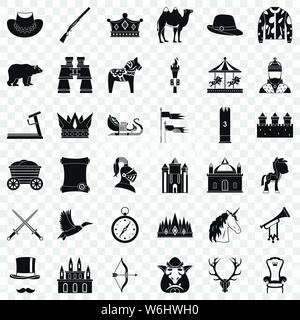 Unicorn icons set, simple style Stock Vector Art