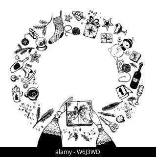 Round frame of Christmas and New Year elements. Doodle sketch, hand drawing. Hands with a gift, snowman, pine branches, stars for your design. Stock vector isolated on white background. - Stock Photo