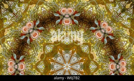 Panorama frame Pink flowers in a circular design with green leaves and yellow sunset color. Geometric kaleidoscope pattern on mirrored axis of symmetr - Stock Photo