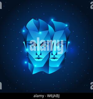 Gemini zodiac sign, blue star horoscope symbol. Stylized astrological illustration. - Stock Photo