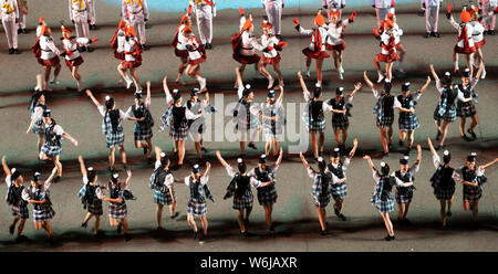 Edinburgh, Scotland, UK. 1st Aug, 2019. Preview opening night of the 2019 Royal Edinburgh Military Tattoo, performed on the esplanade at Edinburgh Castle. This is the Tattoo's 69th year and it runs from 2-24 August. Pictured The Lochiel marching Drill Team Credit: Iain Masterton/Alamy Live News - Stock Photo