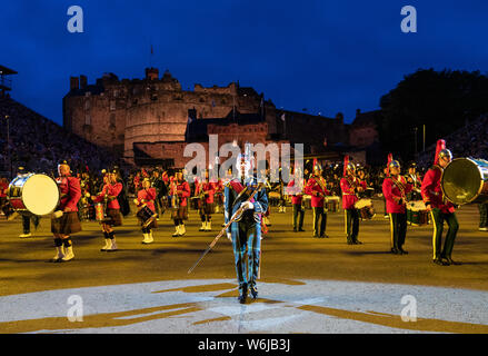 Edinburgh, Scotland, UK. 1st Aug, 2019. Preview opening night of the 2019 Royal Edinburgh Military Tattoo, performed on the esplanade at Edinburgh Castle. This is the Tattoo's 69th year and it runs from 2-24 August. Pictured the Massed Pipes and Drums Credit: Iain Masterton/Alamy Live News - Stock Photo