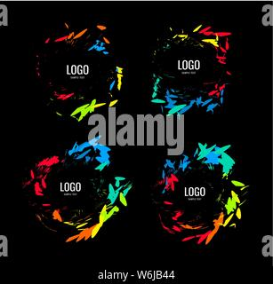 A series of circular logos in a natural style on a black background - Stock Photo