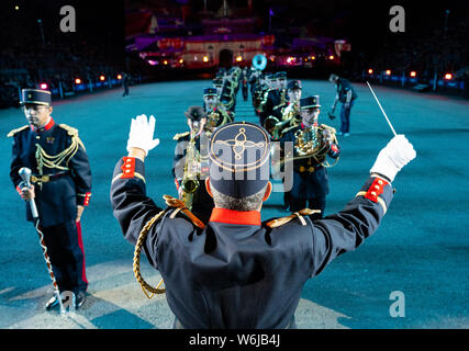 Edinburgh, Scotland, UK. 1st Aug, 2019. Preview opening night of the 2019 Royal Edinburgh Military Tattoo, performed on the esplanade at Edinburgh Castle. This is the Tattoo's 69th year and it runs from 2-24 August. Pictured Musique de 'Artillerie Credit: Iain Masterton/Alamy Live News - Stock Photo