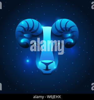Aries zodiac sign, blue star horoscope symbol. Stylized astrological illustration. - Stock Photo