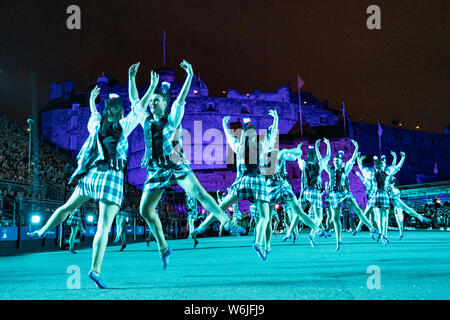 Edinburgh, Scotland, UK. 1st Aug, 2019. Preview opening night of the 2019 Royal Edinburgh Military Tattoo, performed on the esplanade at Edinburgh Castle. This is the Tattoo's 69th year and it runs from 2-24 August. Pictured The Tattoo Dance Company Credit: Iain Masterton/Alamy Live News - Stock Photo