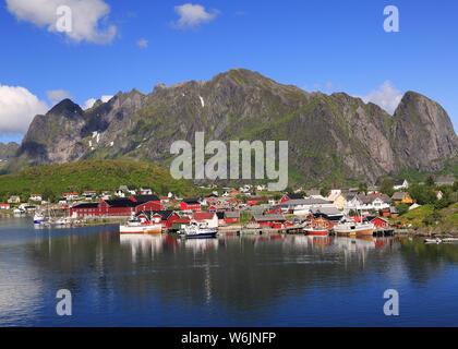 Scenic view of Reine area, Lofoten Islands in Norway