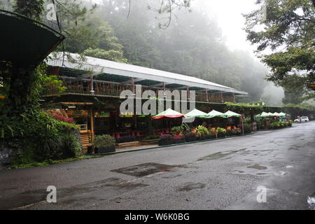 Cisarua, Indonesia - January 26, 2018: cafe building on January, 26, 2018 at Taman Safari, Cisarua, Bogor, West Java, Indonesia - Stock Photo
