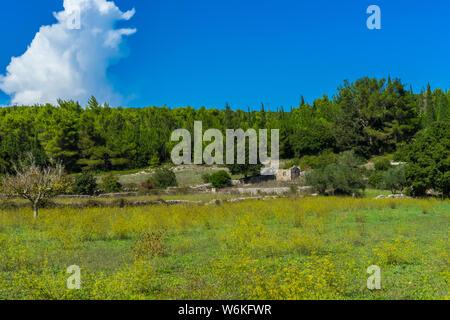 Greece, Zakynthos, Ruins of ancient village next to gyri mountain village - Stock Photo