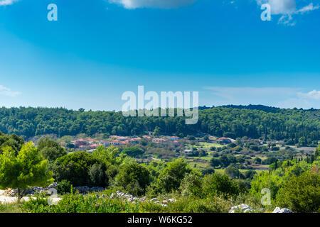 Greece, Zakynthos, Houses of ancient mountain village gyri - Stock Photo
