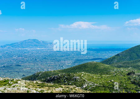 Greece, Zakynthos, Wide view over green mountains and valleys of zante island - Stock Photo