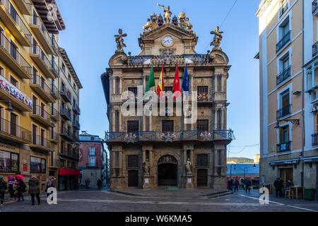 Pamplona City Hall has a beautiful facade where the Baroque and neoclassical styles merge. Pamplona, Navarre, Spain, December 2018 - Stock Photo