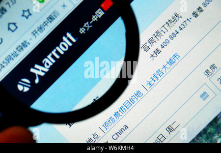 --FILE--A Chinese netizen browses the website of Marriott Hotel of Marriott International in Tianjin, China, 26 April 2016.   Shanghai authorities hav - Stock Photo