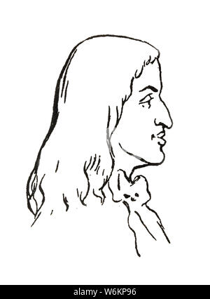 Badajoz, Spain - Jan 7th, 2019: Charles II of Spain Portrait. Draw from book Enciclopedia Autodidactica published by Dalmau Carles in 1954 - Stock Photo