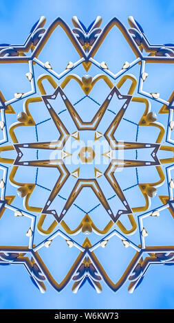 Vertical Complex design pattern with metal beams in star - Stock Photo