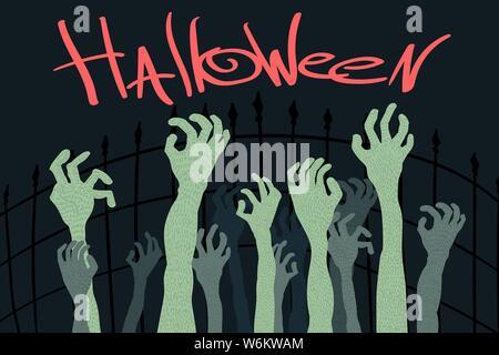 halloween zombies hand in a graveyard Vector cartoon illustration - Stock Photo
