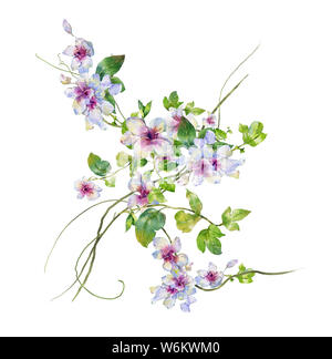 watercolor painting of leaves and flower, on white background - Stock Photo