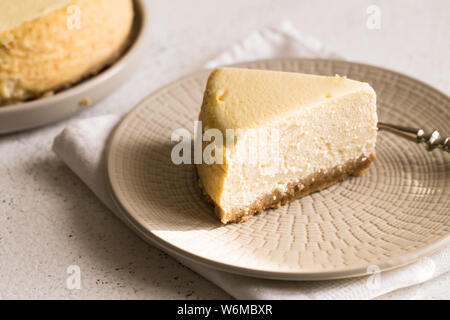 Slice Of Classical New York Cheesecake On White Plate. Closeup View. Home bakery concept/ - Stock Photo