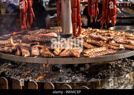 assorted grilled meat cooked outdoors on the embers - Stock Photo