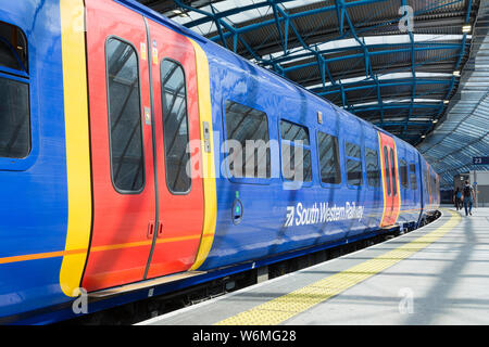 South Western Railway train carriage at Waterloo Station, London, UK - Stock Photo