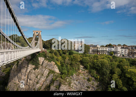 The Clifton Suspension Bridge spanning Avon Gorge and River Avon, Bristol, UK - Stock Photo