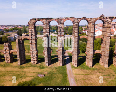 Image of famous landmark in Merida - Aqueduct of the Miracles, Spain - Stock Photo